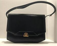 LANVIN Black Leather Shoulder Bag Purse Handbag Made in France