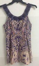 FREE PEOPLE Sundress Size 8 Purple Beaded Floral Paisley Cotton Boho Tank Dress