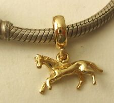 GENUINE SOLID 9K  9ct YELLOW GOLD CHARM BEAD with 3D HORSE DROP ANIMAL