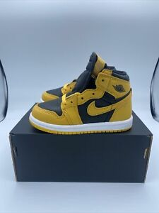 NIKE JORDAN 1 RETRO HIGH OG TD Pollen Black Baby Toddler Shoes 9C AQ2665 701