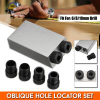 Pocket Hole Jig Dowel Drill 6/8/10mm Guides Woodworking 15° Screw Joint Holes
