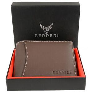 Mens Brown Genuine Leather Wallet RFID Safe Two Slip Pockets + Gift Box UK Stock