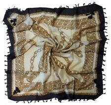 Beige Brown Black Chain Print Cotton Square Scarf (Z382)