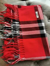 Burberry London Knit Scarf, Large Checks, Red, Woman, One Size, Large