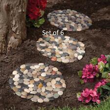 "Set of 6 River Rock Stepping Stones 12""Diam. Non-slip w/ Net Backing Polyresin"