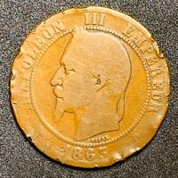 1863 A France or French 10 Centimes Bronze Coin Y#17  (917)
