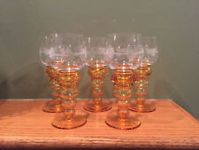 Lot of 5 Handmade German Theresienthal Etched Amber Wine Cordial Glasses