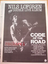 """NILS LOFGREN Code of The Road 1986 UK Poster size Press ADVERT 16x12"""""""
