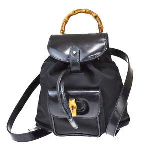 Authentic GUCCI Logos Bamboo Mini Backpack Bag Nylon Leather Black Italy 04MI590
