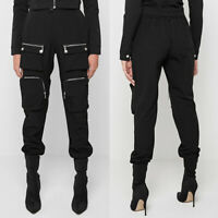 Womens High Waisted Pocket Cargo Pants Ladies Punk Gothic Casual Trousers UK