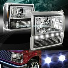 BLACK HOUSING LED 1-PIECE HEADLIGHTS+BUMPER+CORNER LAMPS FIT 89-92 FORD RANGER
