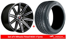 Alloy Wheels & Tyres 8.0x18 Axe EX15 Black Polished Face + 2254518 Economy Tyres