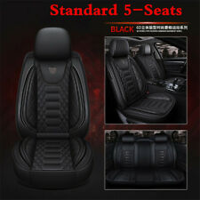 Black Car Seat Cover Protector Cushion Front & Rear Full Set PU Leather Interior