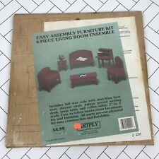 Artply New 1987 Dollhouse Furniture Set Plywood Sofa Love Seat Desk Table & Lamo