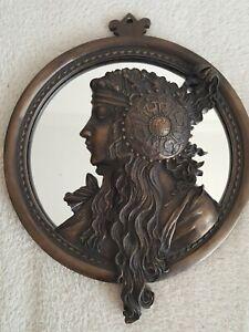 Art Nouveau Style Round Decorative Wall Mirror Bronze Effect 3D 20cm D