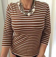 SPORTSCRAFT WOMENS TOP BLOUSE STRIPED COTTON BLEND STRETCHY WORK COMFORT SZ M