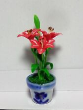 1:12 Scale Red Lily Flowers In A Pot Doll House Miniatures Flowers Accessory