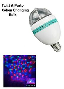 LED Rotating Disco Light Bulb RGB Projector Multi Coloured Screw Party Lamp