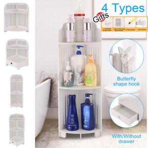 2/3 Tiers Corner Storage Shelf Drawer Toilet Vanity Rack Bath Sink Organizer