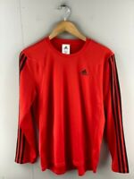 Adidas Mens Red 3 Striped Polyester Long Sleeves Running T Shirt Size Small