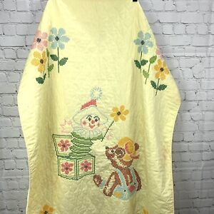 Vintage Baby Quilt Yellow Bear Flowers Jack in Box Cross Stitched 58x38