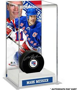 Mark Messier Rangers Autographed Puck with Deluxe Tall Case - Fanatics