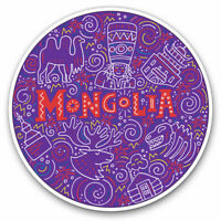 2 x Vinyl Stickers 10cm - Purple Mongolia Illustration Travel Cool Gift #19554