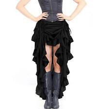 Gothic Steampunk Renaissance Victorian Vintage Black Ruffle Skirt Costume S-2XL