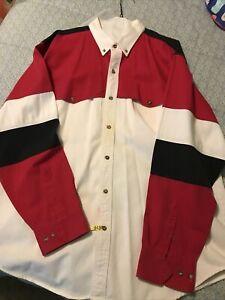 Red Western Shirt Southwestern Tribal Pattern Shirt Urban Hipster Button Up Cotton Top Men/'s Size Medium Large