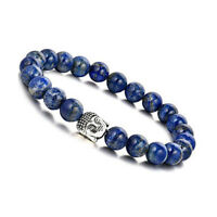 Natural 8mm Lapis Lazuli Buddha Healing Crystal Stretch Beaded Bracelet Unisex