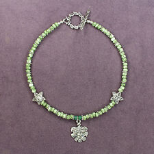 GREEN MAN ANKLET Picasso Beads Nature Spirit Tree Face Leaf Pagan Celtic Wicca