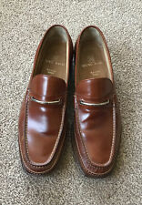 Platinum Bruno Magli Tan Handmade Leather Handmade Loafer Shoes Size 10 UK