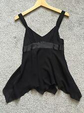 BNWT Ladies GAP Black Silk Double Layer Handkerchief Top UK 2 £32 Cami Vest XS