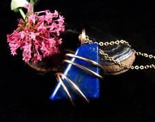 Afghanistan Blue Lapis Lazuli Crystal Pendant in Merlin's Gold (Bronze) #51