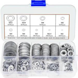 600pcs 304 Stainless Steel Flat Washers Assortment Kit 9 Sizes M2-M12 GL