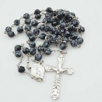 Vintage Silver Tone Snowflake Obsidian Gemstone Rosary Made In Italy