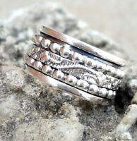 Solid 925 Sterling Silver Spinner Ring Meditation ring statement ring Size SR598