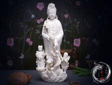 """14""""Chinese Dehua Porcelain Dripping Water Kwan-yin Guanyin Tongzi Dragon Statue"""
