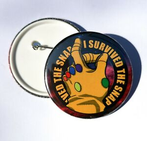 Avengers Pin Badge - I Survived The Snap - 77mm / 58mm / 33mm - Thanos Groot