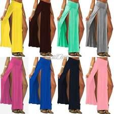 New Lady Boho Long High Waisted Elegant Maxi Dress Solid Side Split Skirt AU A++