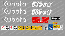 KUBOTA U35-3 MINI DIGGER COMPLETE DECAL SET WITH SAFETY WARNING SIGNS