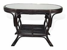 Coffee Oval Table with Glass Top Pilangi Wicker Rattan Color Dark Brown