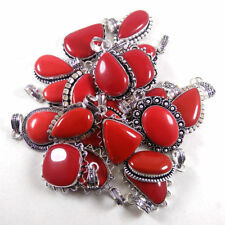 50PCS Wholesale Lot RED CORAL Gemstone 925 Silver Plated Pendant Jewelry