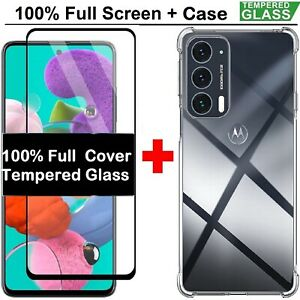 Moto Edge 20 Tempered Glass Screen Film+Cover Case For Motorola Edge 20 Pro Lite