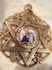 Vintage 14k Solid  Gold  Enamel Jewish Star Of David Charm/pendant