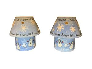 """Pair Of Votive Candle Holders w/ Shades """"Let it snow"""" snowmen And Snow Flakes"""