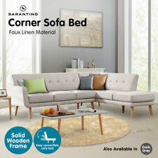 Sarantino Faux Linen Corner Wooden Sofa Lounge L-shaped with Chaise Light Grey