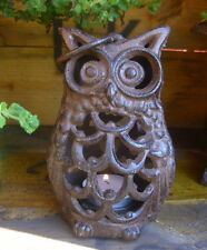 Garden Lantern Owl Tealight Holder Cast Iron Country Style Decoration NEW