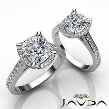 Crown Halo Pave Set Cushion Shape Diamond Engagement Ring GIA I Color VS2 1.4Ct