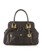 Charles Jourdan Tabatha Ostrich Leather Satchel Purse Handbag Black Gold $350